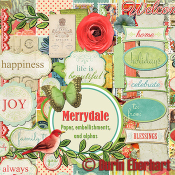 Merrydale Printable Digital Paper, Embellishments and Alphas