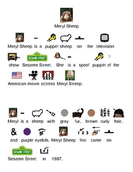 Meryl Sheep - Sesame Street puppet picture supported text lesson review