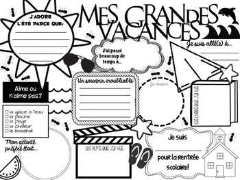 Mes Grandes Vacances About my Summer Vacation Poster Template