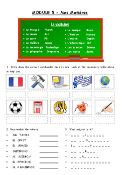 Mes Matieres / Subjects in French