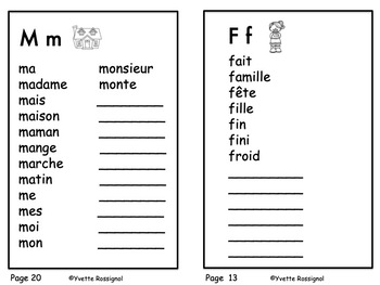 Mes Mots! Dictionnaire personnel, French Personal Dictionary, mots fréquents