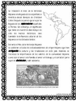 Mes de la Herencia Hispana - Hispanic Heritage Month in Spanish