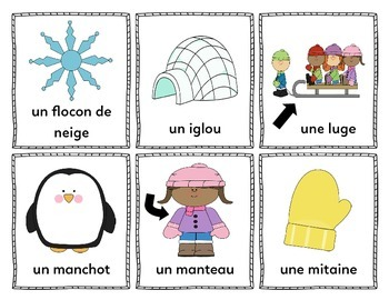 Mes mots pour l'hiver (My Words for Winter) - French Vocabulary Cards