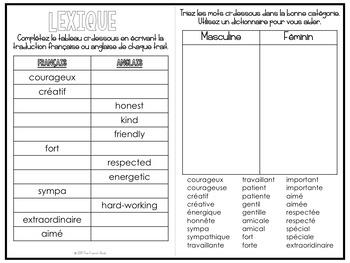 Mes qualités positives - French personality traits self-esteem and vocabulary