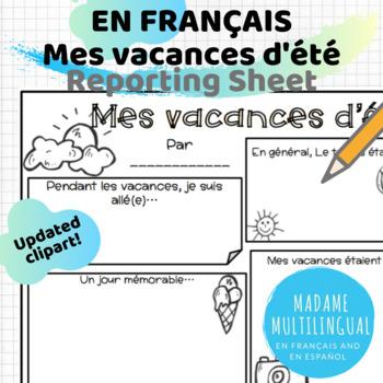 Mes vacances d'été French Reporting Sheet