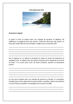 Mes vacances de rêves  / My dream vacation / My ideal vacation / Translation
