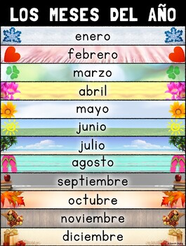 Meses Del Año Months Of The Year Poster Spanish Tpt