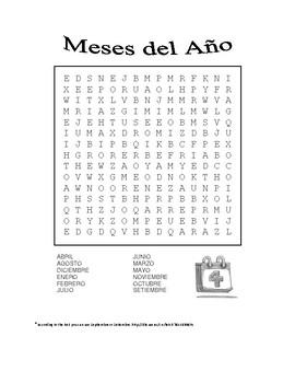 Los Meses Del Ano Worksheet | Teachers Pay Teachers