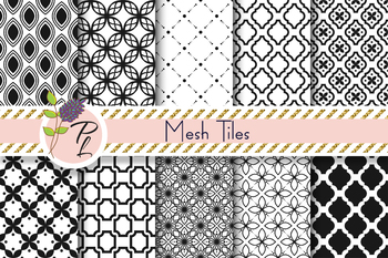 Mesh Tile Seamless Pattern Set. Digital paper pack.