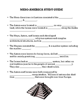 Meso-America Study Guide and Test (with KEYS)