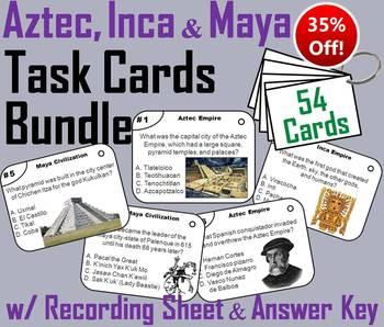 Mesoamerica Civilizations Unit: Aztec, Inca Maya Empire Task Cards
