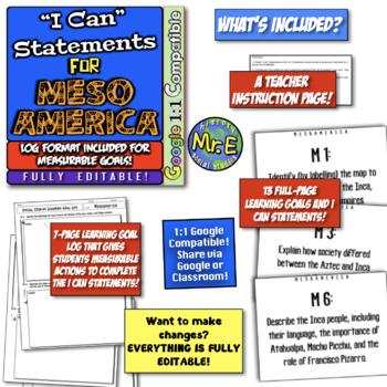 "Mesoamerica ""I Can"" Statements & Learning Goals! Log Aztec, Inca, & Maya Goals!"
