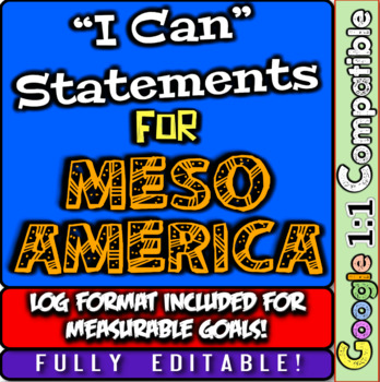 """Mesoamerica """"I Can"""" Statements & Learning Goals! Log Aztec"""