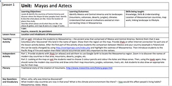 Mesoamerica and the Aztecs lesson plans and activities
