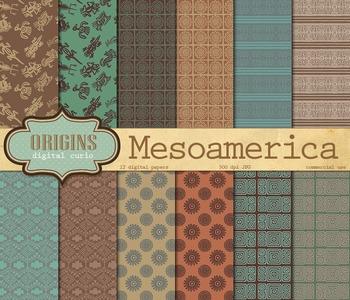 Mesoamerican Aztec Mayan Tribal Patterns Digital Paper Backgrounds