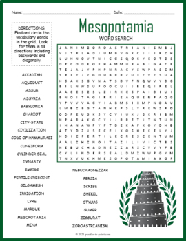 Ancient Mesopotamia Word Search by Puzzles to Print | TpT
