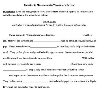 Mesopotamia Agricultural Vocabulary Review