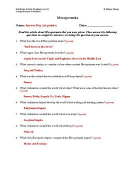 Mesopotamia Article (Reading Level 2) Comprehension Worksheet