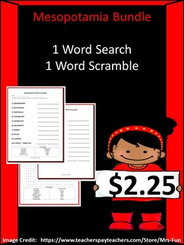 Mesopotamia Bundle- 1 Word Search & 1 Word Scramble