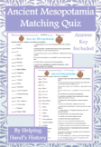 Ancient Mesopotamia Activity Matching with Answer Key