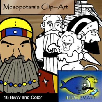 Mesopotamia Clip-Art: 16 Pieces BW and Color