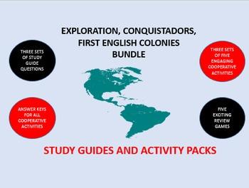 Exploration, Conquistadors,  English Colonies Bundle: Study Guide/Activity Packs