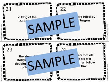 Mesopotamia/ Fertile Crescent Task Cards & Bingo Game