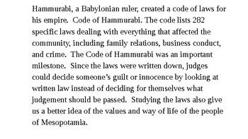 Mesopotamia: Hammurabi's Code