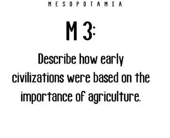 "Mesopotamia ""I Can"" Statements & Learning Goals! Measure Mesopotamia Goals!"