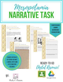 Mesopotamia Narrative Writing Task - GOOGLE DRIVE Digital Slides & Print Ready!