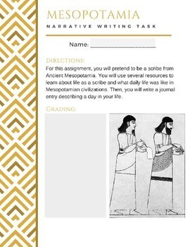 Mesopotamia Narrative Writing Task - GOOGLE DRIVE Digital Slides & Print Ready!