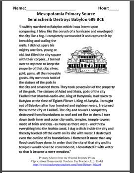 Mesopotamia Primary Source Worksheet: Sennacherib Destroys Babylon 689 BCE