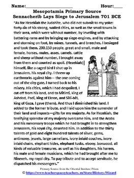 Mesopotamia Primary Source Worksheet:Sennacherib Lays Siege to Jerusalem