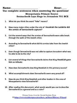Mesopotamia Primary Source Worksheet: Sennacherib Lays Siege to Jerusalem