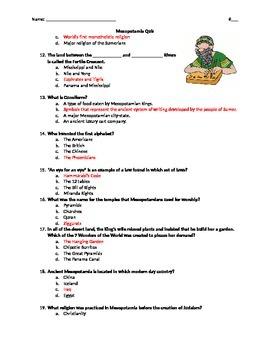 Mesopotamia Quiz