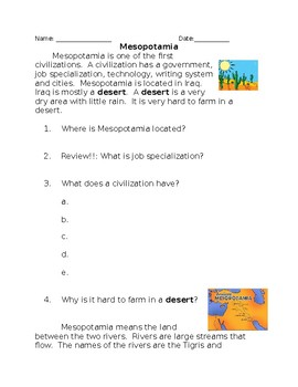 Mesopotamia Reading and Fill Ins
