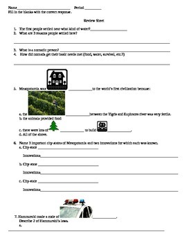 Mesopotamia Review Sheet - ESOL Differentiated