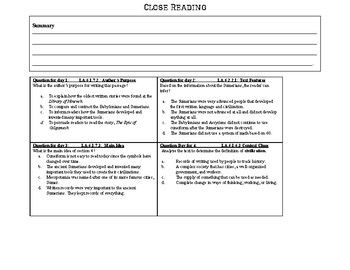 Mesopotamia- SS.6.W.2.4 Close Reading