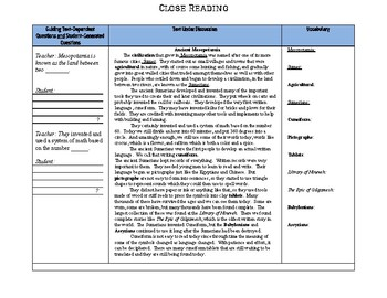 Mesopotamia- SS.6.W.2.4 Close Reading
