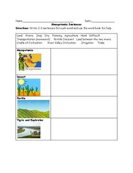 Mesopotamia Sentence Worksheet