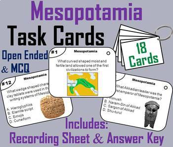 Ancient Mesopotamia Task Cards and Activities Bundle
