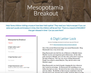 Mesopotamia Tech Bundle: Breakout, Hyperdoc, & Choice Board