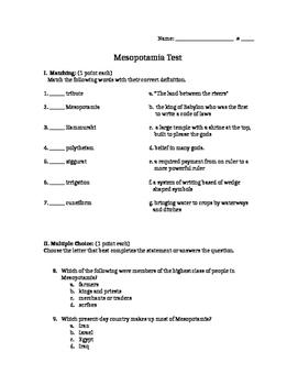 Mesopotamia Test 6th