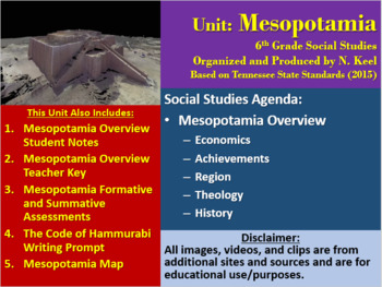 Mesopotamia Overview Unit - E.A.R.T.H. Notes, Keys, PP, and Tests - 6th Grade SS