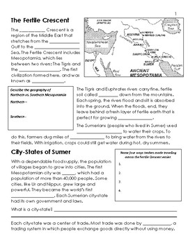 Mesopotamia Unit, Student Notes - 6th Grade Social Studies