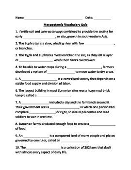 Mesopotamia Vocabulary Quiz
