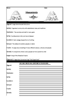 Mesopotamia Vocabulary Worksheet and Creative Writing Assignment