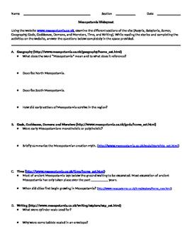 Mesopotamia Webquest
