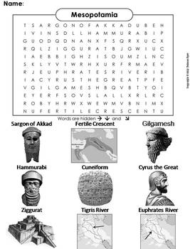 Ancient Mesopotamia and the Fertile Crescent Word Search