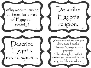 Mesopotamia and Ancient Egypt Task Cards